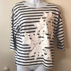 J. Crew black and white striped top size S